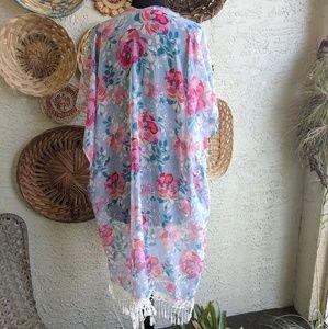 Other - Sheer kimono crochet boho hippie swim coverup
